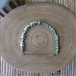 Handmade Jewelry - Elephant Charm & Aqua Bead Boho Bracelet Costume